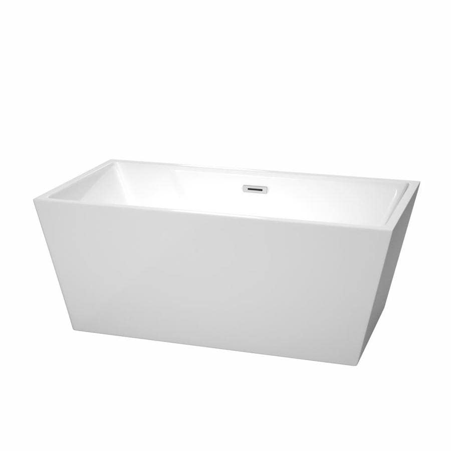 Wyndham Collection Sara White Acrylic Rectangular Freestanding Bathtub with Center Drain (Common: 32-in x 59-in; Actual: 23.5-in x 31.5-in x 59-in)
