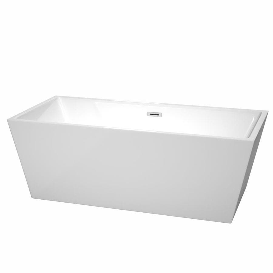 Wyndham Collection Sara White Acrylic Rectangular Freestanding Bathtub with Center Drain (Common: 32-in x 67-in; Actual: 23.5-in x 31.5-in x 67-in)