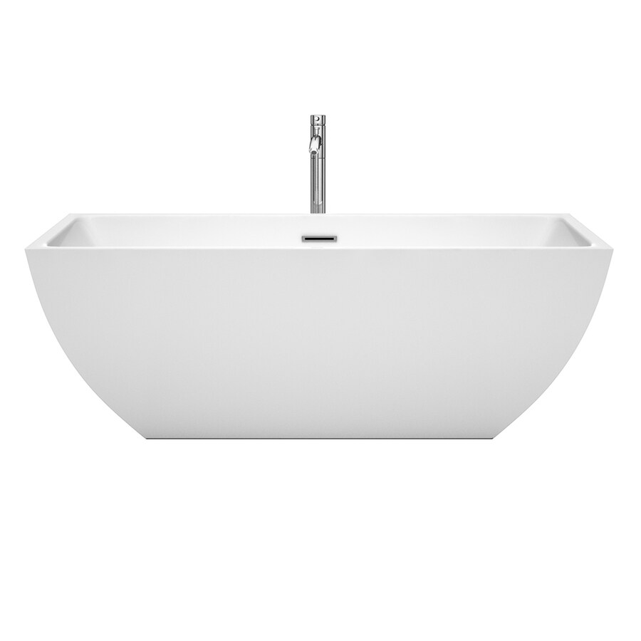 Wyndham Collection Rachel White Acrylic Rectangular Freestanding Bathtub with Center Drain (Common: 30-in x 67-in; Actual: 23.5-in x 29.5-in x 67-in)