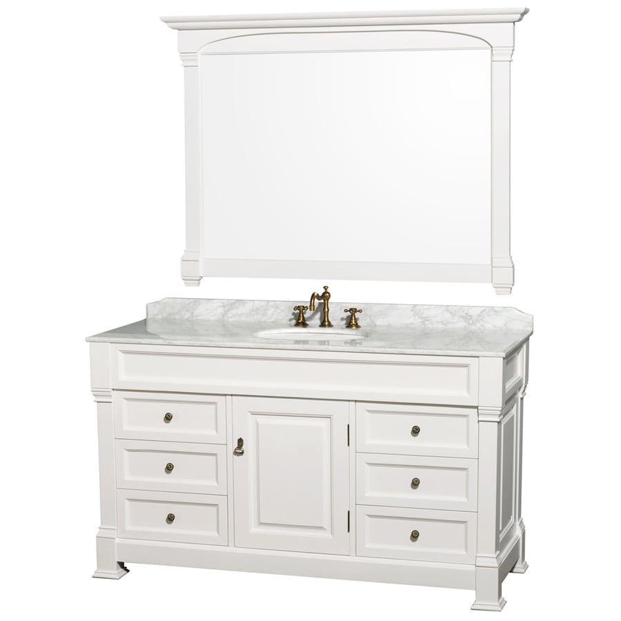 Wyndham Collection Andover White Undermount Single Sink Oak Bathroom Vanity with Natural Marble Top (Mirror Included) (Common: 60-in x 23-in; Actual: 60-in x 23-in)