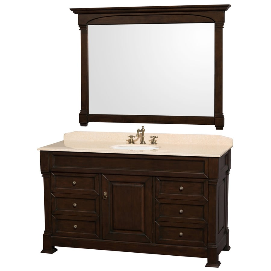 Wyndham Collection Andover Dark Cherry Undermount Single Sink Oak Bathroom Vanity with Natural Marble Top (Mirror Included) (Common: 60-in x 23-in; Actual: 60-in x 23-in)