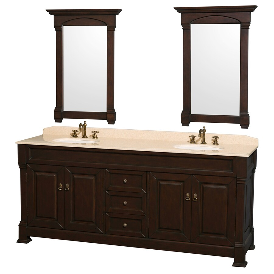 Wyndham Collection Andover Brown/Tan Undermount Double Sink Oak Bathroom Vanity with Natural Marble Top (Mirror Included) (Common: 80-in x 23-in; Actual: 80-in x 23-in)