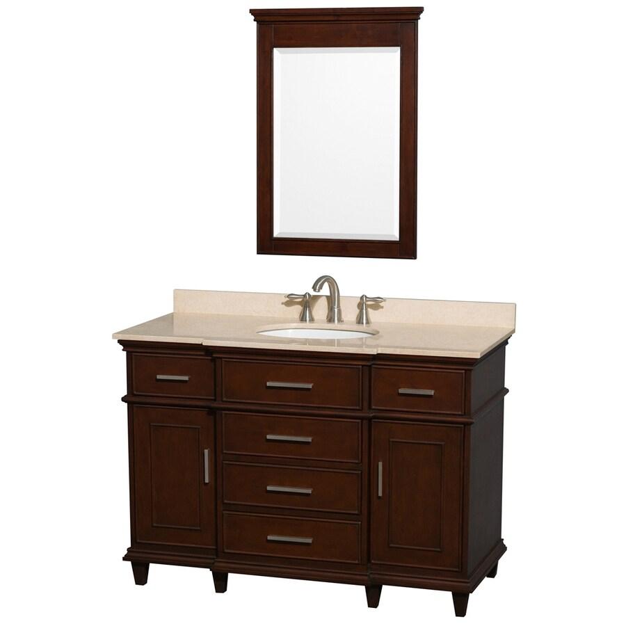 Wyndham Collection Berkeley Dark Chetnut Undermount Single Sink Birch Bathroom Vanity with Natural Marble Top (Mirror Included) (Common: 48-in x 22.5-in; Actual: 48-in x 22.5-in)