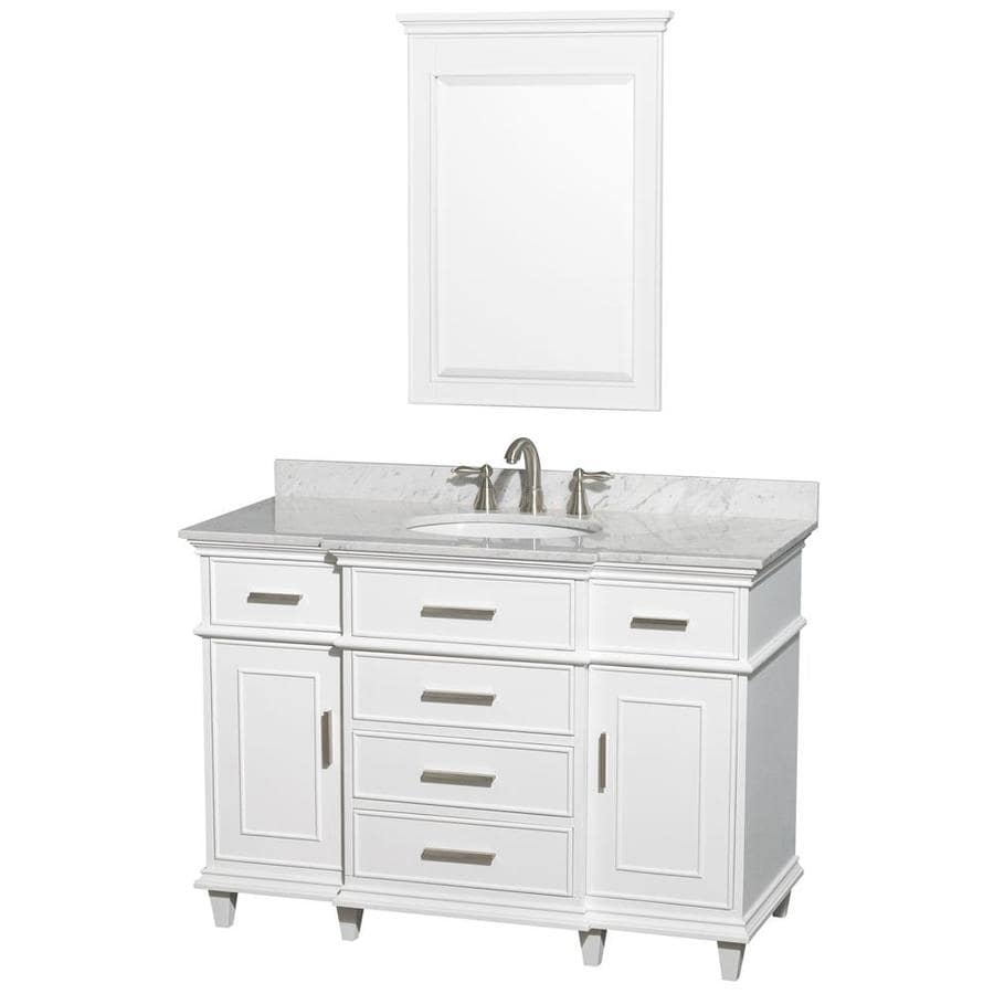 Wyndham Collection Berkeley White Undermount Single Sink Birch Bathroom Vanity with Natural Marble Top (Mirror Included) (Common: 48-in x 22.5-in; Actual: 48-in x 22.5-in)
