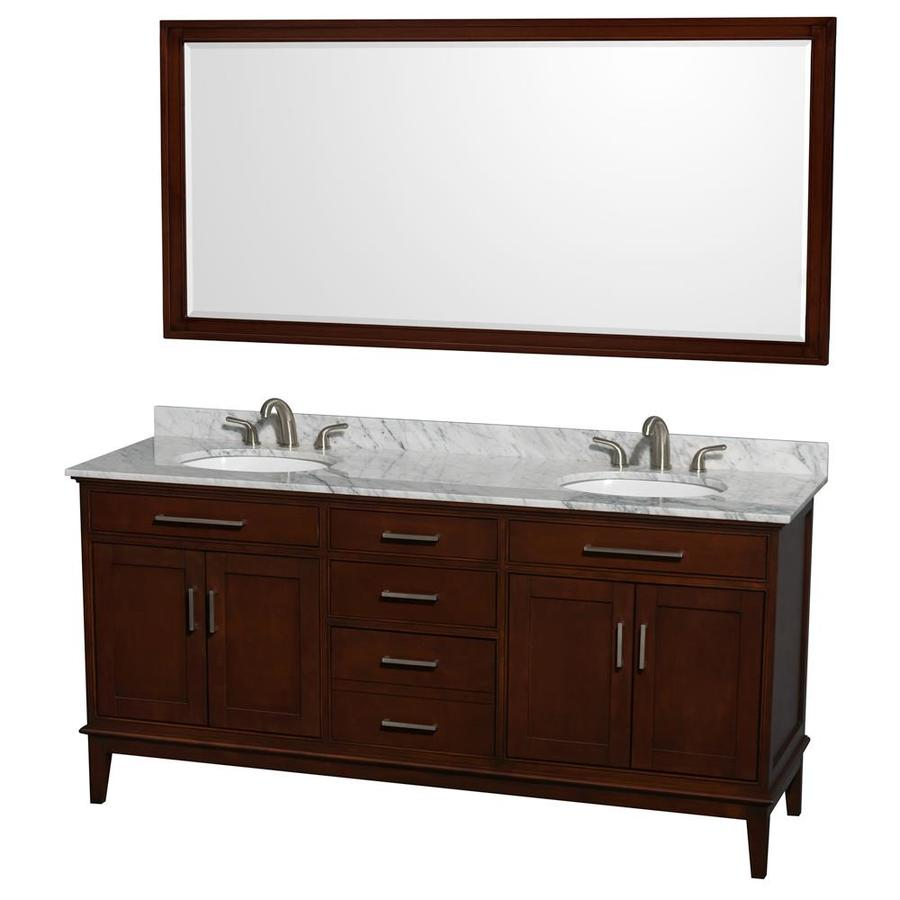 Wyndham Collection Hatton Dark Chestnut Undermount Double Sink Birch Bathroom Vanity with Natural Marble Top (Mirror Included) (Common: 72-in x 22-in; Actual: 72-in x 22-in)