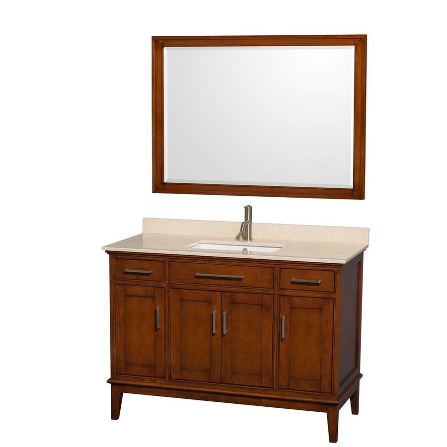 Wyndham Collection Hatton Light Chestnut Undermount Single Sink Birch Bathroom Vanity with Natural Marble Top (Mirror Included) (Common: 48-in x 22-in; Actual: 48-in x 22-in)
