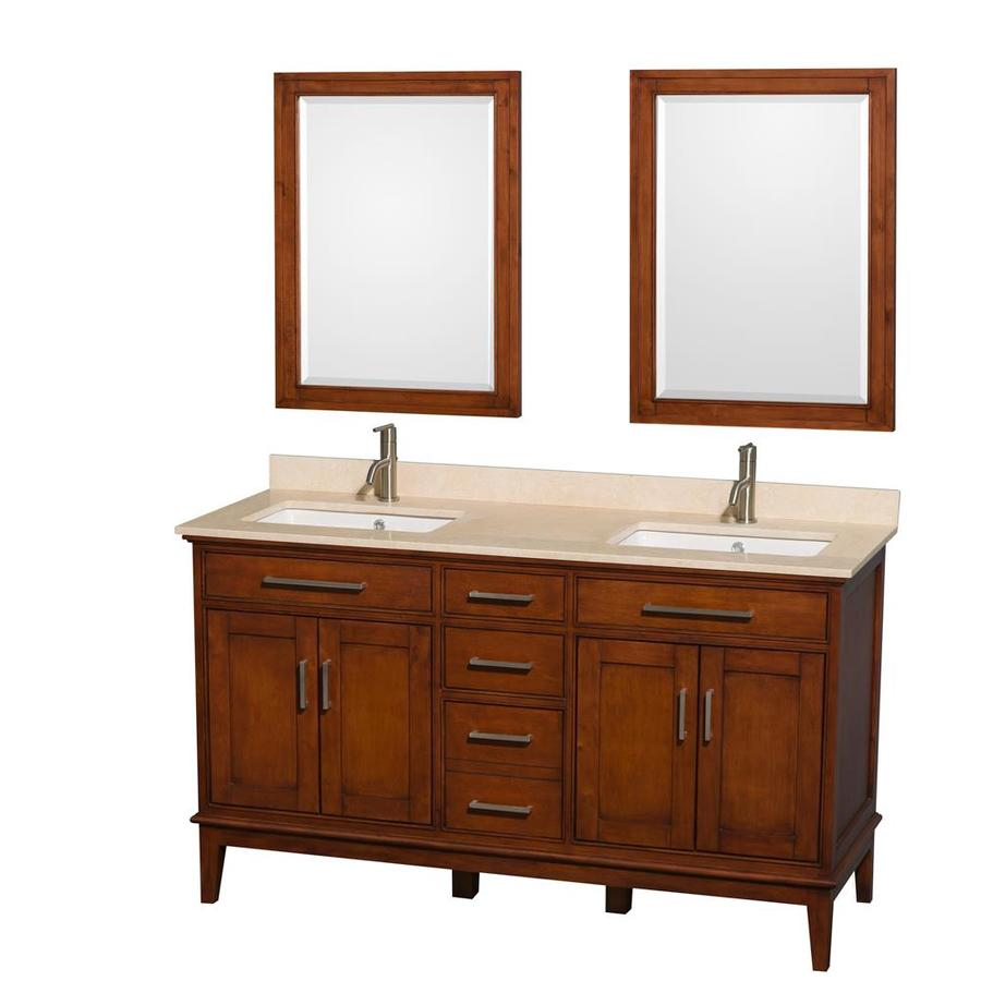 Wyndham Collection Hatton Light Chestnut Undermount Double Sink Birch Bathroom Vanity with Natural Marble Top (Mirror Included) (Common: 60-in x 22-in; Actual: 60-in x 22-in)