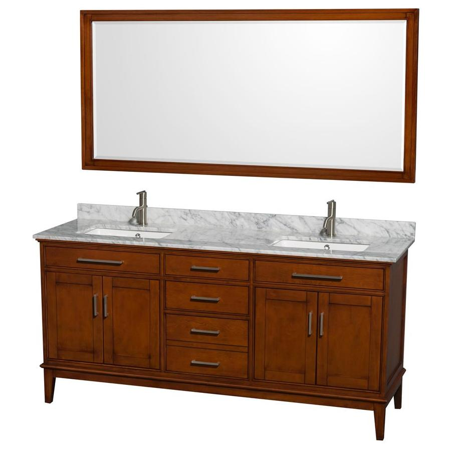 Wyndham Collection Hatton Light Chestnut Undermount Double Sink Birch Bathroom Vanity with Natural Marble Top (Mirror Included) (Common: 72-in x 22-in; Actual: 72-in x 22-in)