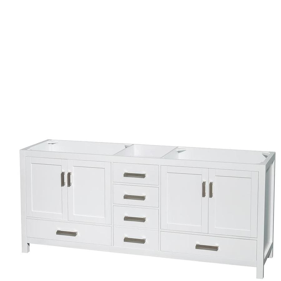 Wyndham Collection Sheffield White Transitional Bathroom Vanity (Common: 80-in x 22-in; Actual: 78.5-in x 21.5-in)