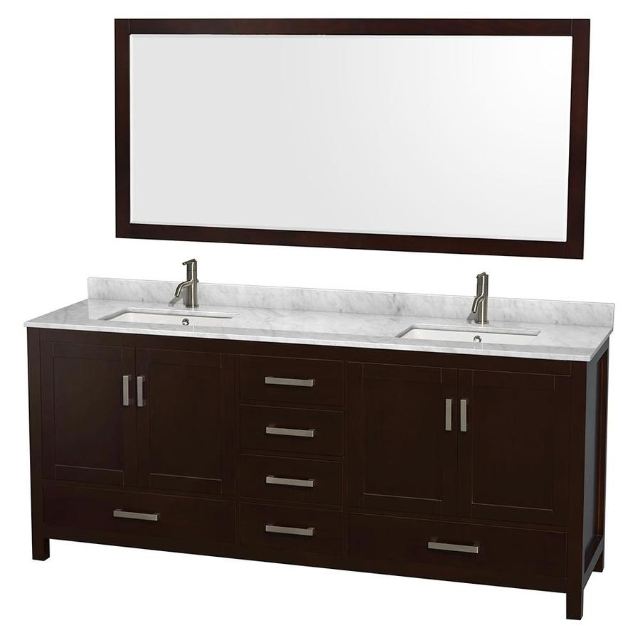 Wyndham Collection Sheffield Espresso Undermount Double Sink Birch Bathroom Vanity with Natural Marble Top (Mirror Included) (Common: 80-in x 22-in; Actual: 80-in x 22-in)
