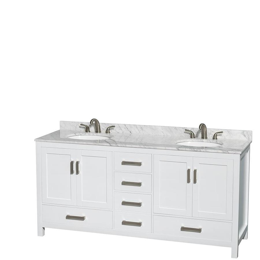 Wyndham Collection Sheffield White Undermount Double Sink Birch Bathroom Vanity with Natural Marble Top (Common: 72-in x 22-in; Actual: 72-in x 22-in)