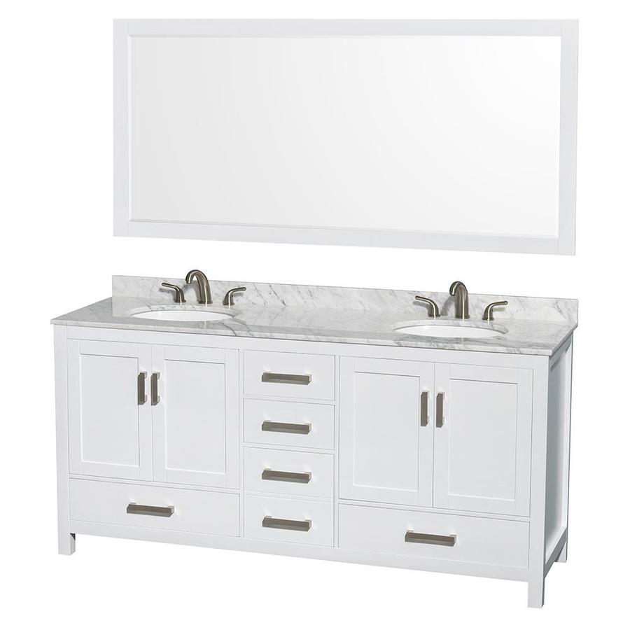 Collection Sheffield White Undermount Double Sink Birch Bathroom
