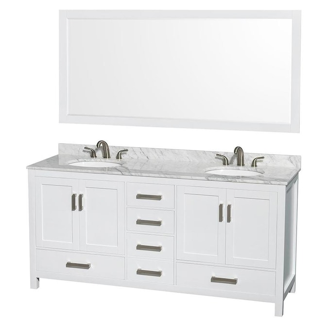 Contemporary Office Interior Design, Wyndham Collection Sheffield 72 In White Double Sink Bathroom Vanity With White Carrera Natural Marble Top Mirror Included In The Bathroom Vanities With Tops Department At Lowes Com