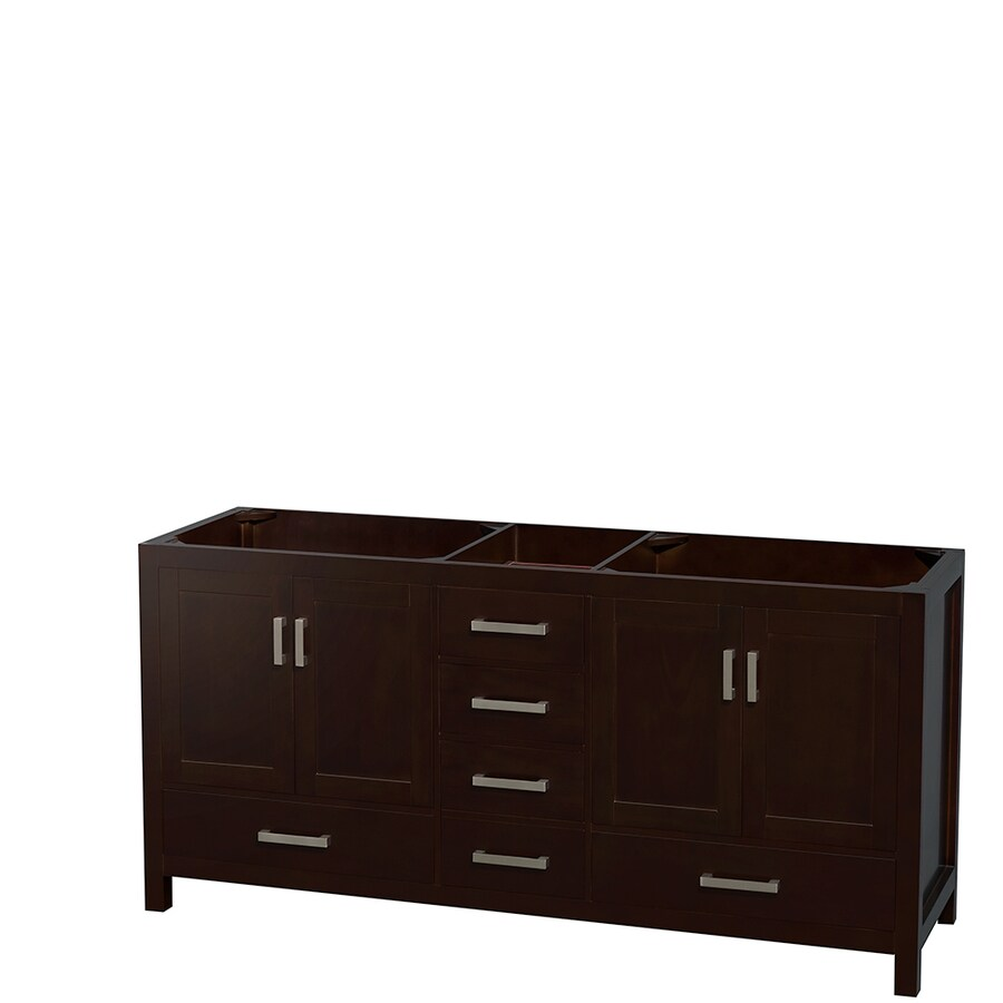 Wyndham Collection Sheffield Espresso Transitional Bathroom Vanity (Common: 72-in x 22-in; Actual: 70.75-in x 21.5-in)