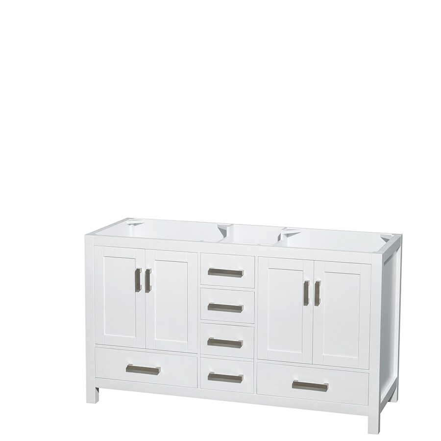Shop wyndham collection sheffield white transitional for 60 x 21 bathroom vanity