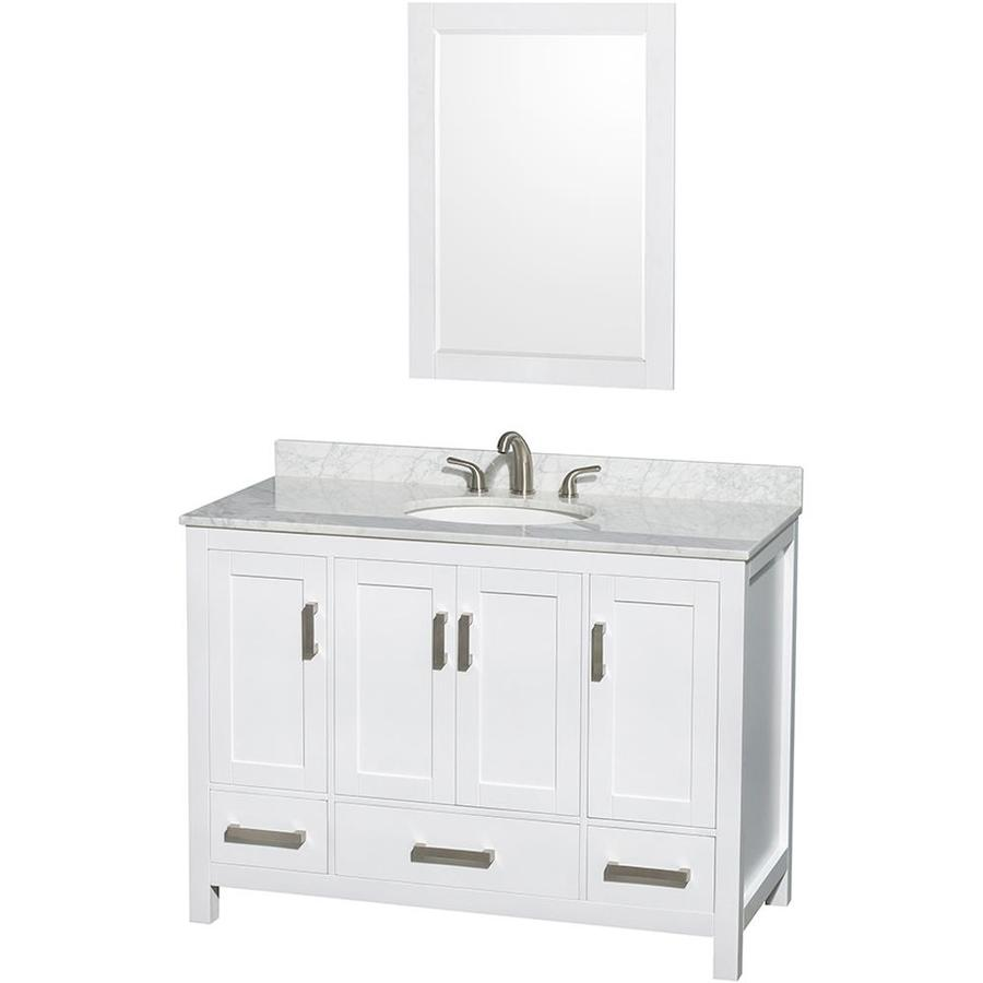 Wyndham Collection Sheffield White Undermount Single Sink Birch Bathroom Vanity with Natural Marble Top (Mirror Included) (Common: 48-in x 22-in; Actual: 48-in x 22-in)