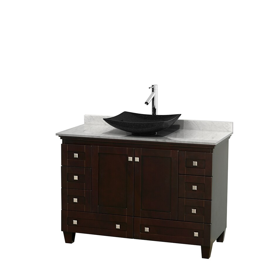 Wyndham Collection Acclaim Espresso Vessel Single Sink Oak Bathroom Vanity with Natural Marble Top (Common: 48-in x 22-in; Actual: 48-in x 22-in)