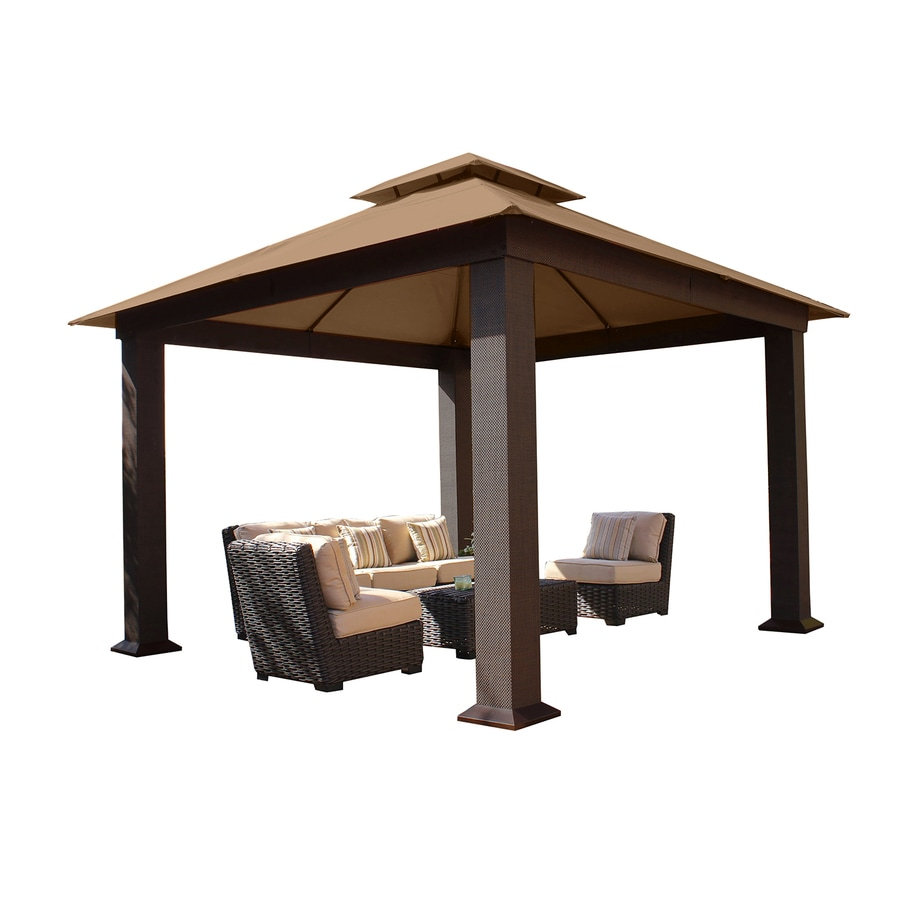 STC Brown/Beige Steel Square Permanent Gazebo (Exterior: 12-ft x 12-ft; Foundation: 10.53-ft x 10.53-ft)