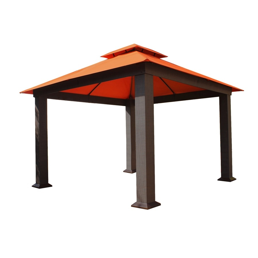 STC Brown/Rust Square Gazebo (Foundation: 12-ft x 12-ft)