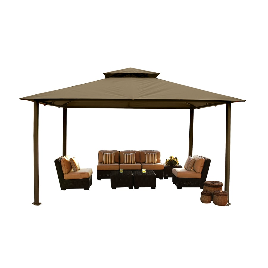 STC Sand/Brown Aluminum Rectangle Permanent Gazebo (Exterior: 14.4-ft x 10.7-ft; Foundation: 9.8-ft x 12.11-ft)