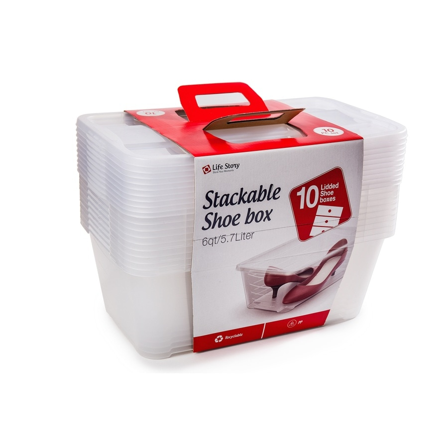 Life Story 10-Pack 6-Quart Clear Shoe Boxes with Standard Snap Lids