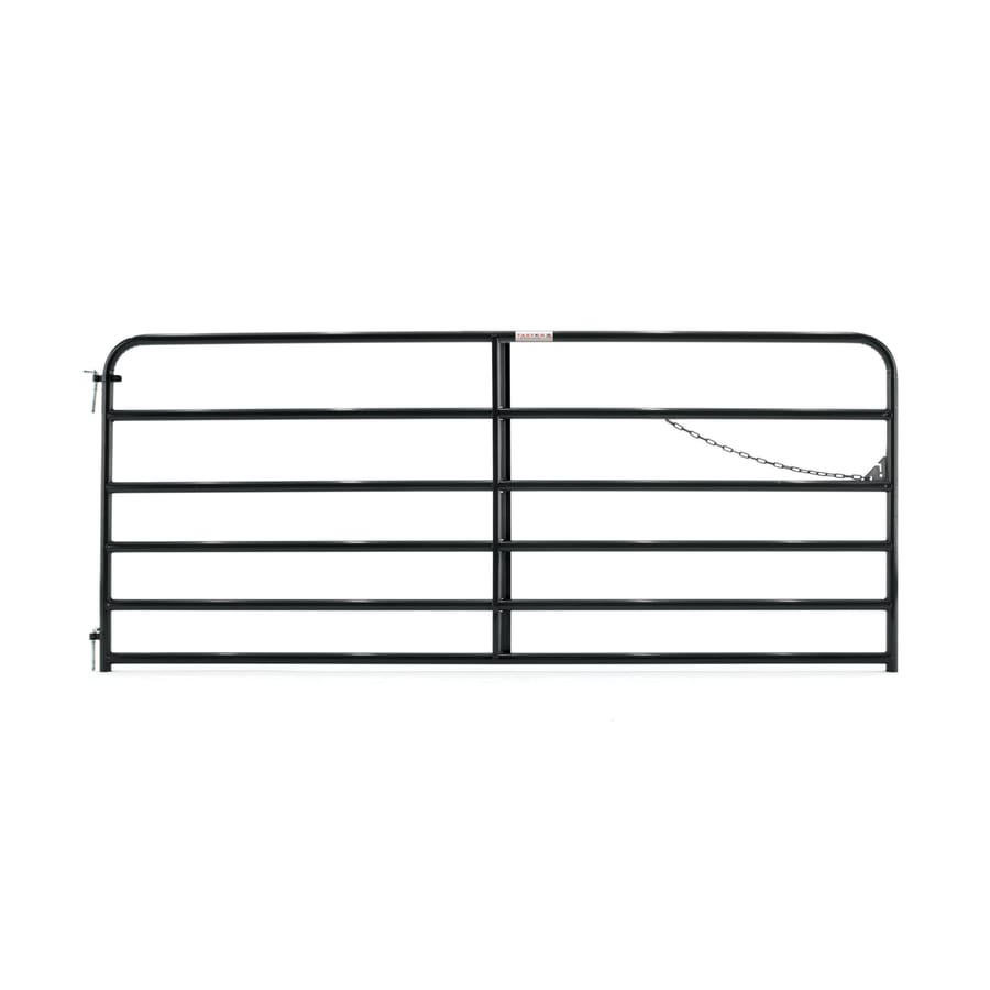 Tarter Black Powder Over E-Coat Metal Steel (Not Wood) Farm Fence Gate (Common: 10-ft x 4.16-ft; Actual: 9.75-ft x 4.16 Feet)