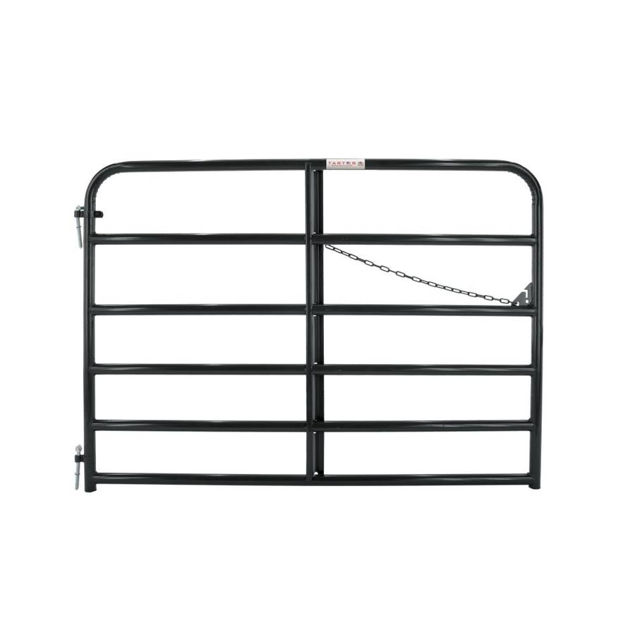 Tarter Black Powder Over E-Coat Metal Steel (Not Wood) Farm Fence Gate (Common: 6-ft x 4.16-ft; Actual: 5.75-ft x 4.16 Feet)