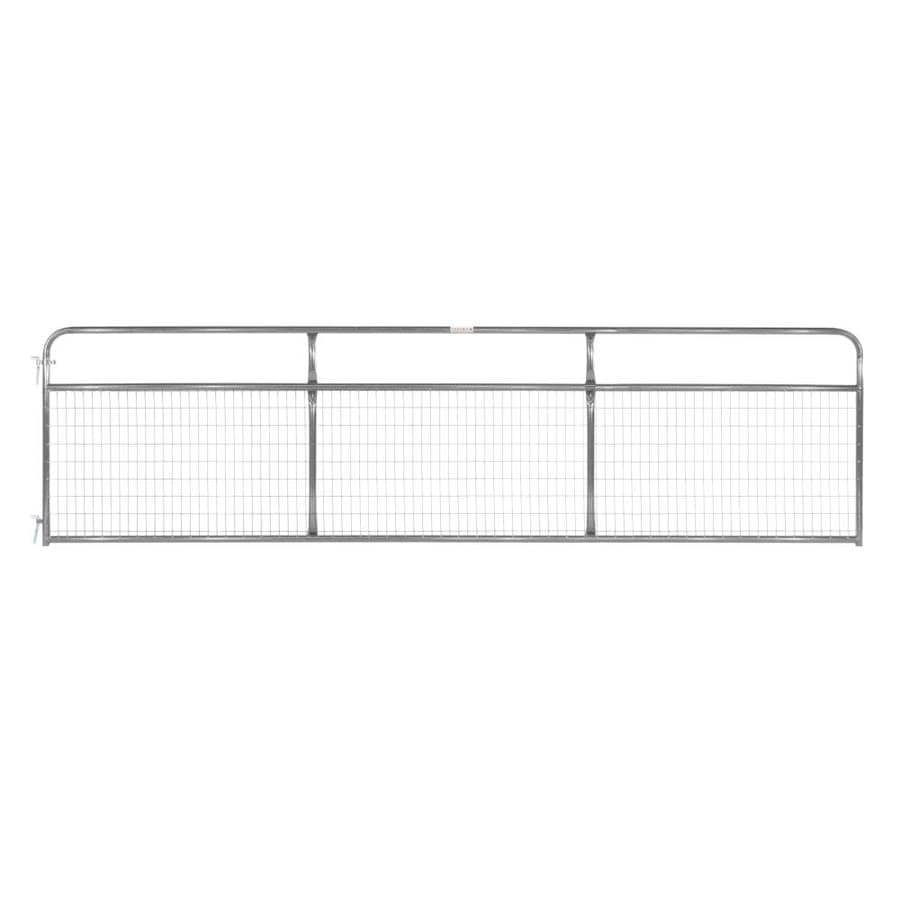 Tarter Gray Powder Over E-Coat Metal Steel (Not Wood) Farm Fence Gate (Common: 16-ft x 4.16-ft; Actual: 15.75-ft x 4.16 Feet)