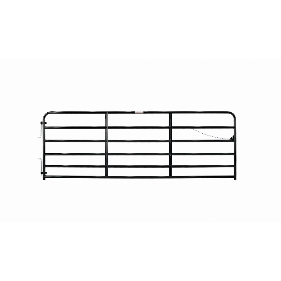 Tarter Black Powder Over E-Coat Metal Steel (Not Wood) Farm Fence Gate (Common: 12-ft x 4.33-ft; Actual: 11.75-ft x 4.33 Feet)