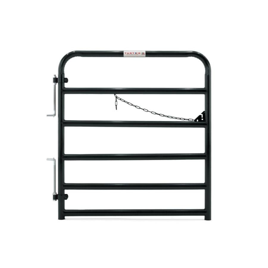 Tarter Black Powder Over E-Coat Metal Steel (Not Wood) Farm Fence Gate (Common: 4-ft x 4.33-ft; Actual: 3.75-ft x 4.33 Feet)