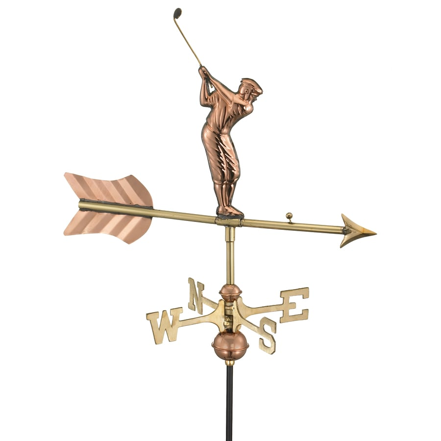 Good Directions Polished Copper Golfer Weathervane