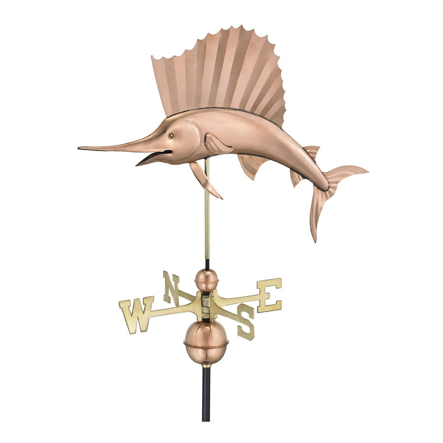 Polished Copper Sailfish Weathervane