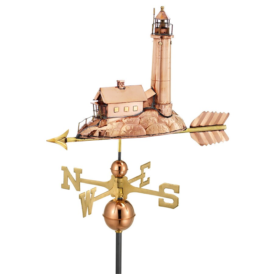 Good Directions Polished Copper Lighthouse Weathervane