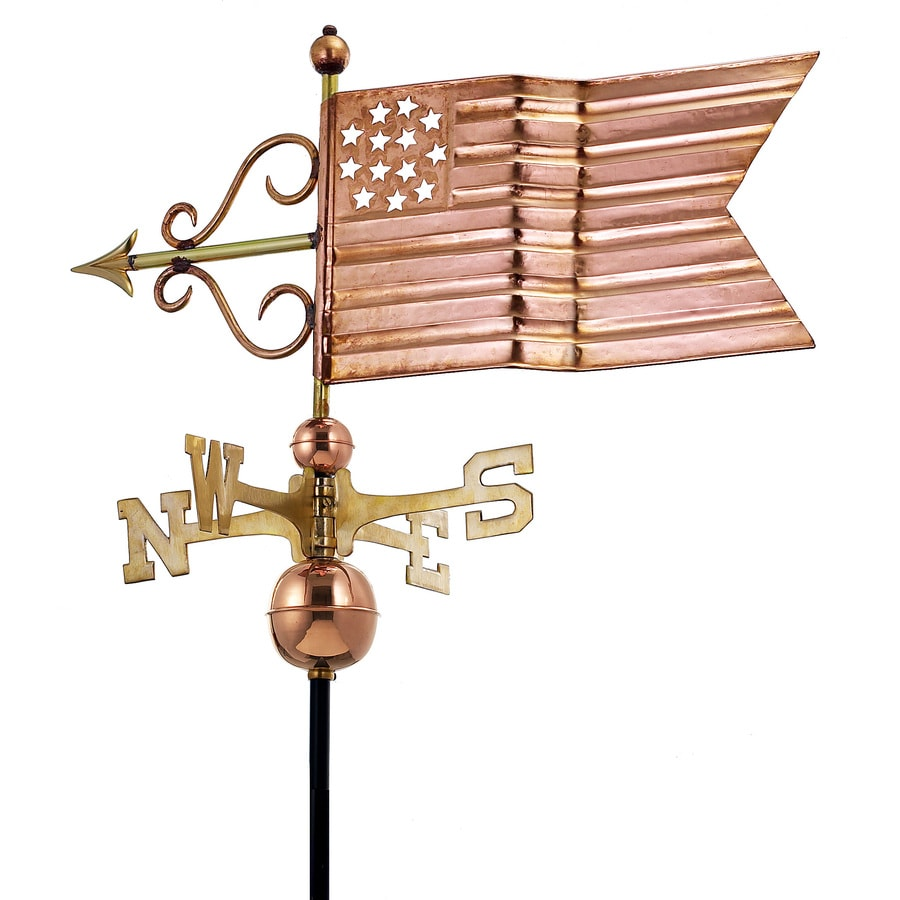 Good Directions Polished Copper American Flag Weathervane