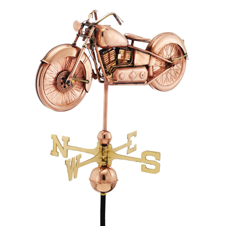 Good Directions Polished Copper Motorcycle Weathervane