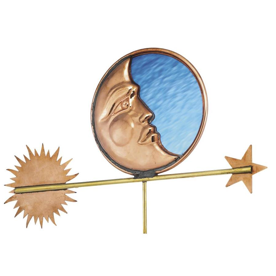 Good Directions Polished Copper Stained Glass Moon Weathervane