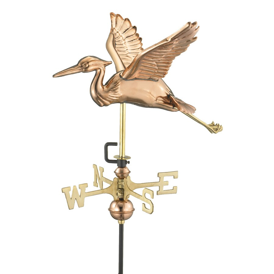 Good Directions Polished Copper Blue Heron Weathervane