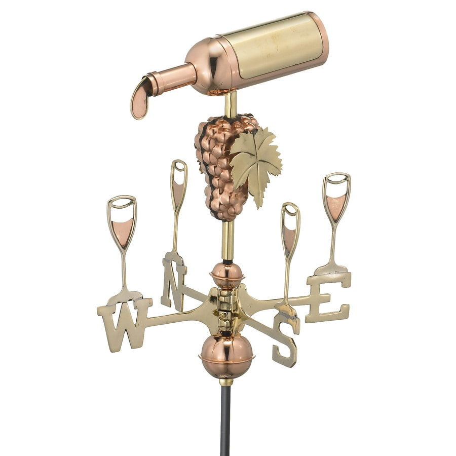 Good Directions Polished Copper Wine Bottle Weathervane