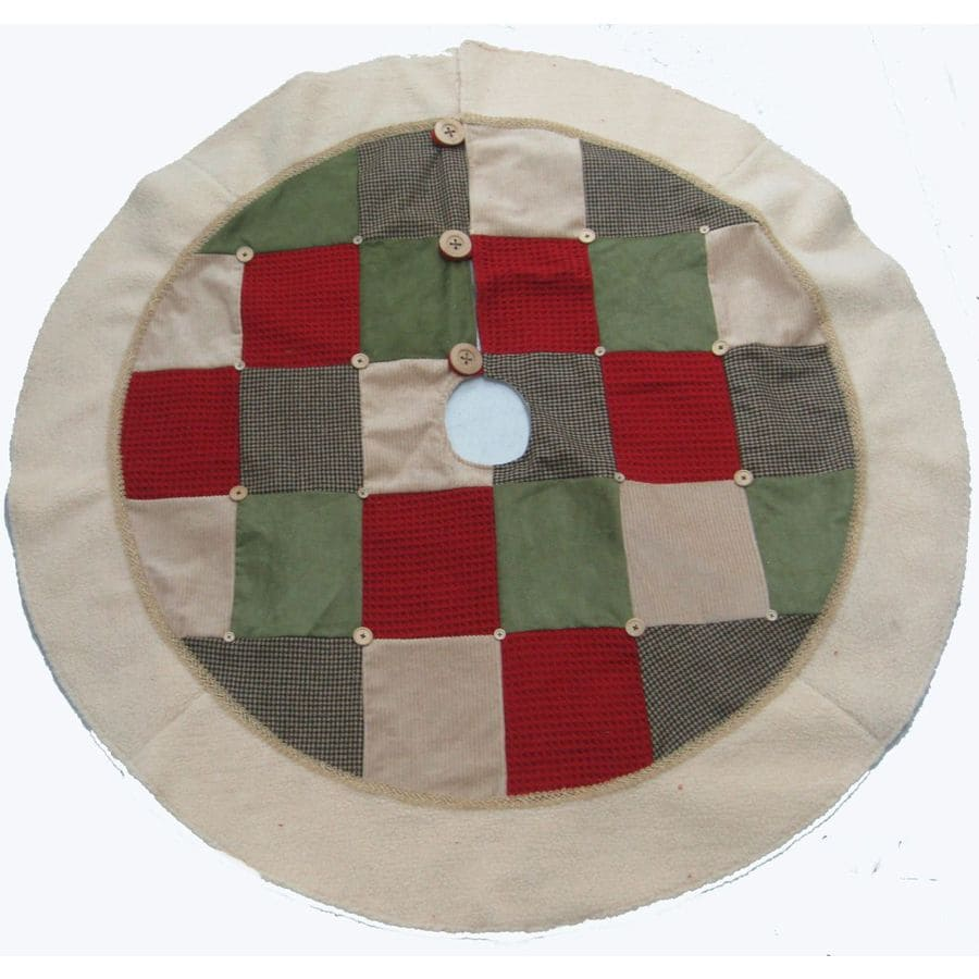 Holiday Living 56-in Red/White/Green Patchwork Quilt Christmas Tree Skirt