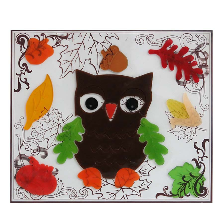 Holiday Living Gel Owls Window Cling Indoor Thanksgiving Decoration
