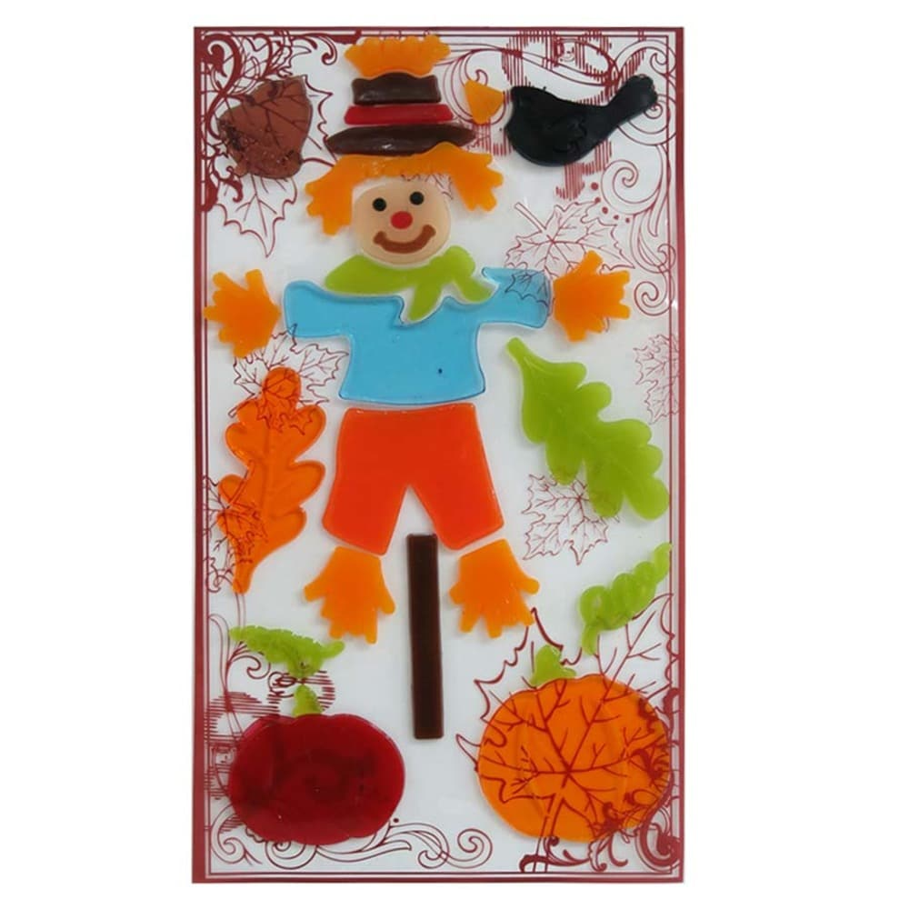 Holiday Living Gel Scarecrow Window Cling Indoor Thanksgiving Decoration
