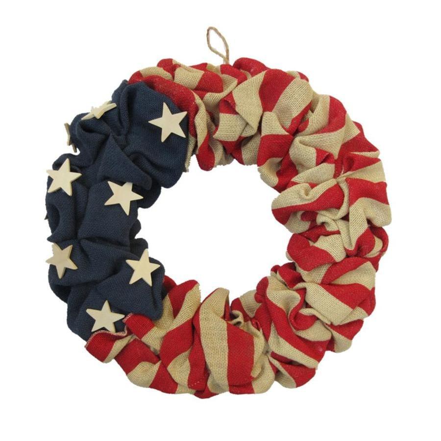Patriotic Burlap Wreath Summer Wreath 4th of July Burlap Wreath Patriotic Rag Wreath Summer Rag Wreath Flag Day Decor Rustic Summer Wreath