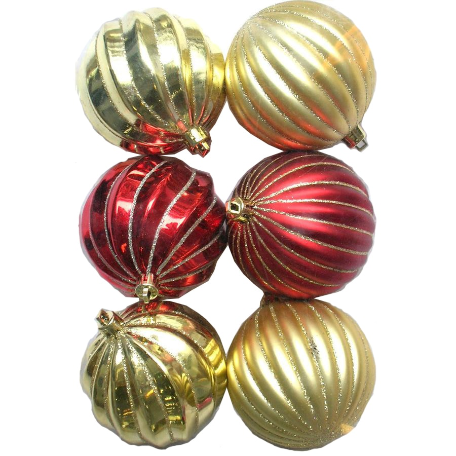 Holiday Living 6-Pack Red and Gold Plastic Shatterproof Ornaments