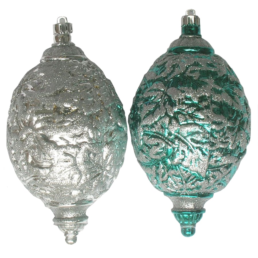 Holiday Living 2-Pack Teal and Silver Shatterproof Egg Shaped Ornaments