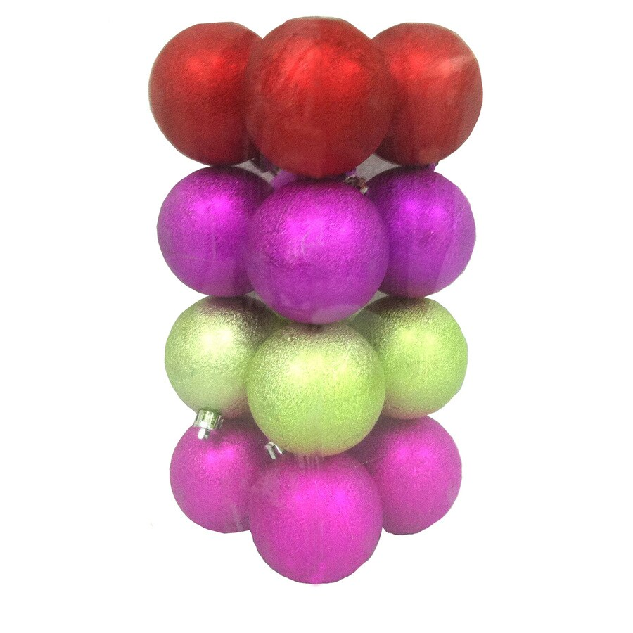 Holiday Living 16-Pack Multicolor Plastic Shatterproof Frosted Ornaments