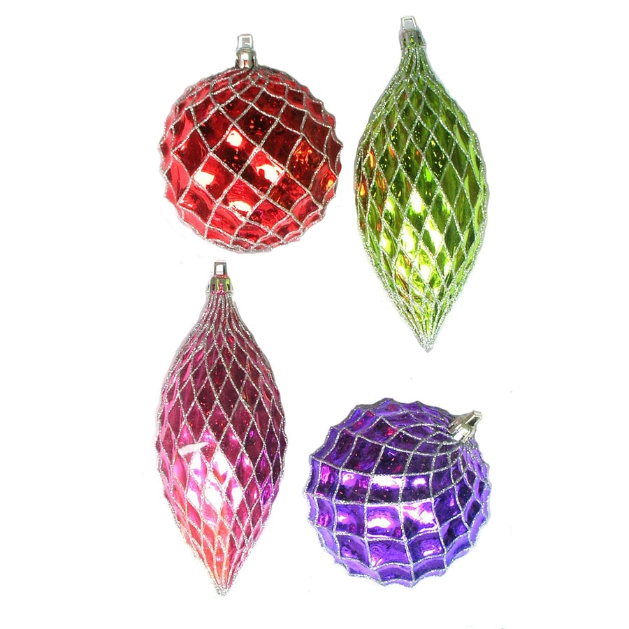 Holiday Living 4-Count Metallic Multicolor Shatterproof Ornaments