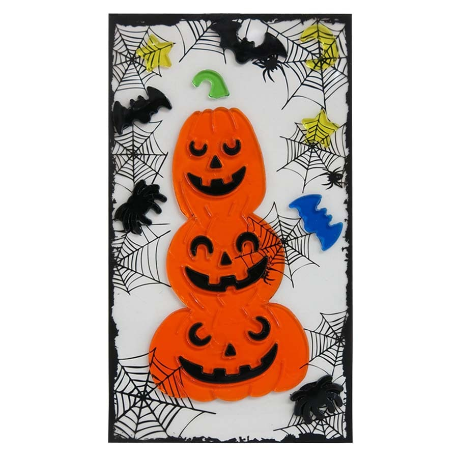 Holiday Living Gel Hanging Pumpkin Stack Window Cling