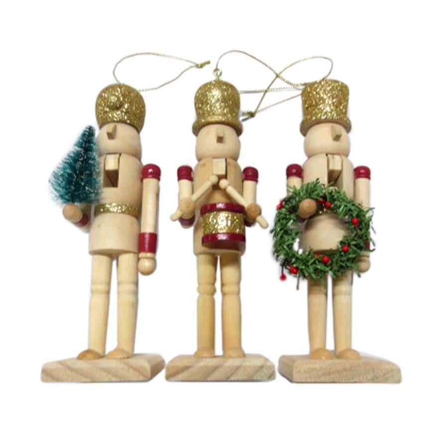 Holiday Living 3-Pack Natural Wood with Traditional Colors Ornament Set
