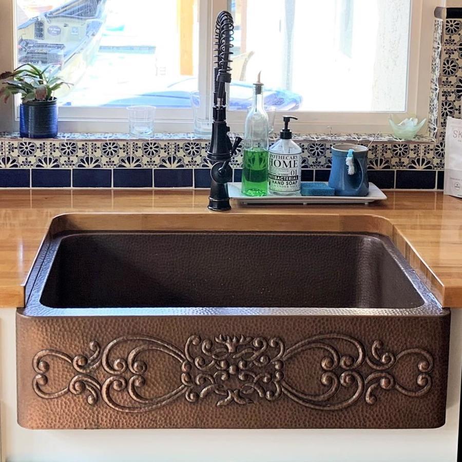 SINKOLOGY Ganku 33-in x 22-in Antique Copper Single-Basin Copper Apron Front/Farmhouse Commercial Kitchen Sink