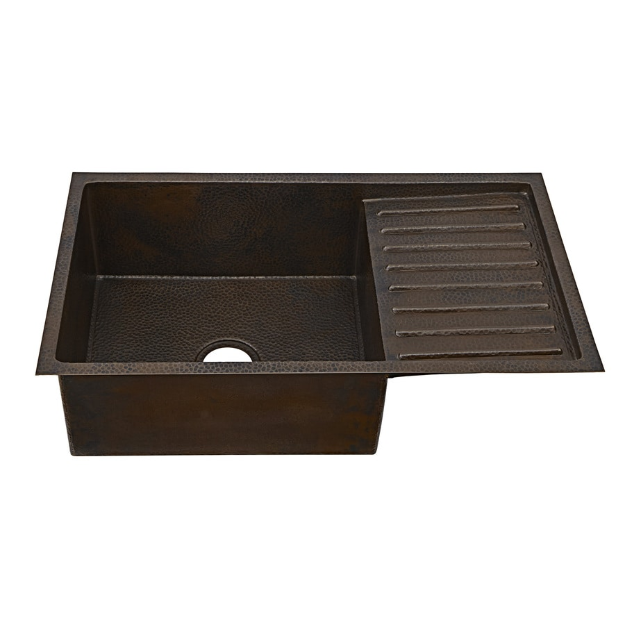 SINKOLOGY Klee 33-in x 18.5-in Aged Copper Single-Basin Copper Undermount Commercial Kitchen Sink with Drainboard